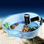Aquarium Kura-kura Berbentuk Kolam dengan Pulau dan Pohon Kelapa